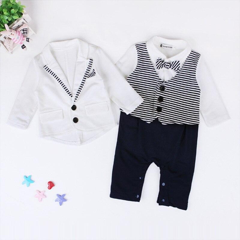abay Spring Autumn Babe Gentleman Full Dress Romper Boys Girls Kids Dress Elegant Birthday Jump Suit Infantis Outdoor Clothes