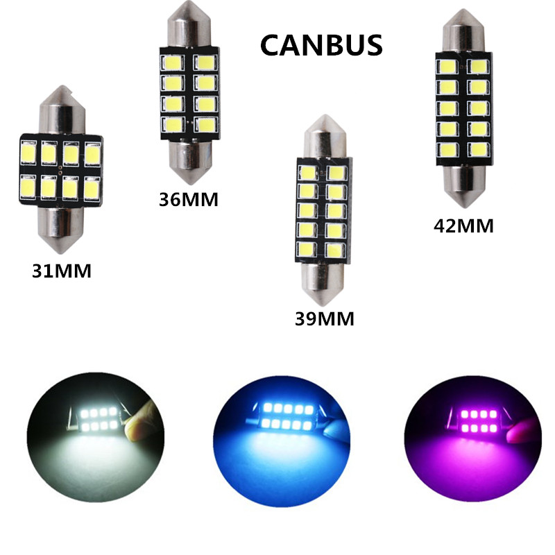 2pc Car Led Light 31mm 36mm 39mm 41mm 2835 SMD CANBUS Festoon C5W C10W Auto Lamp Bulb Interior Lights White Ice Blue pink 12v 2pcs festoon led 36mm 39mm 41mm canbus auto led lamp 12v festoon dome light led car dome reading lights c5w led canbus 36mm 39mm