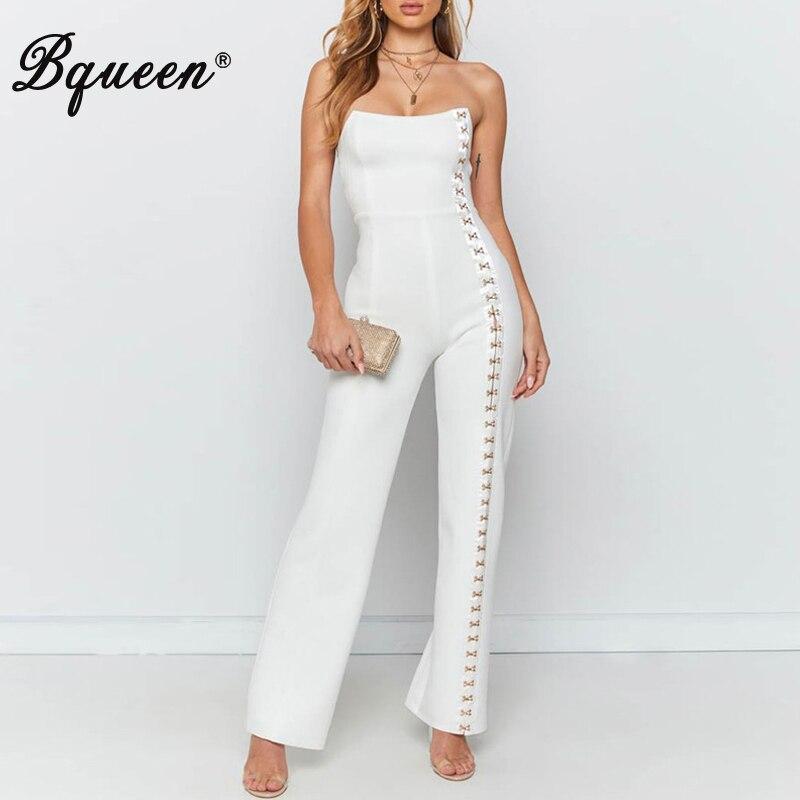 Bqueen 2019 New  Lady Hollow Out Rivet Jumpsuit Sleeveless Clubwear Women Off Shoulder Hight Waist Sexy Office Jumpsuit