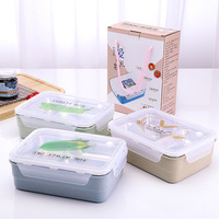 Heating separated double lunch box wheat straw 304 stainless steel lunch box lunch box hot food container ZP01221632