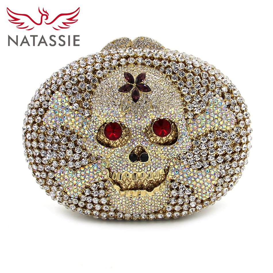 ФОТО NATASSIE 2017 New Arrival Skull Bag Women Clutch Lady Evening Bags Wedding Clutches Party Purse And Handbags With Chain