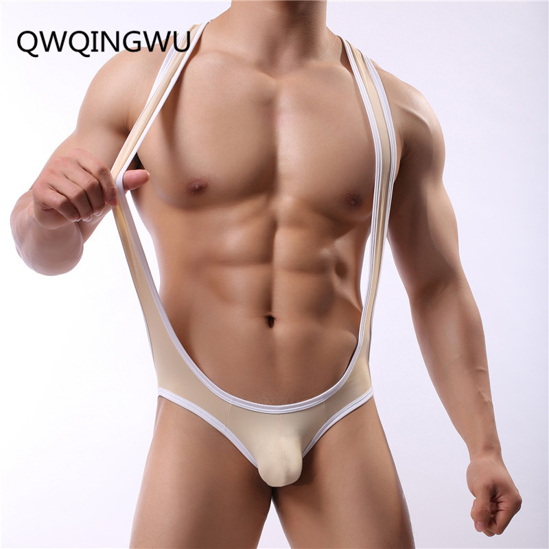 Onesie Vest Pajamas 2018 Brand Summer Sexy Ice Silky Ultra-thin Male Underwear Body Shaping Homewear Men Pajama Wrestling Suit