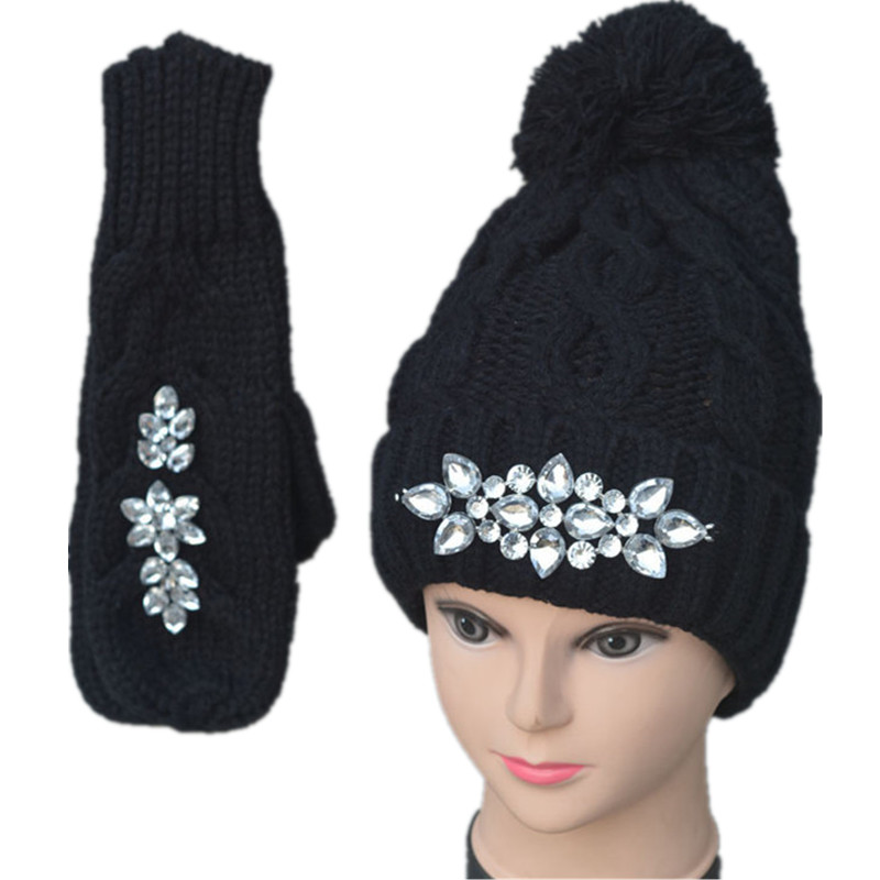 Diamond Luxury Thick Knitted Gloves Hat And Scarf For Women Winter Warm Set Female Gloves Women's Scarves Knit Mittens Cap Set