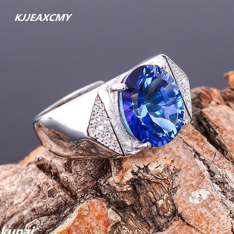 KJJEAXCMY Fine jewelry Wholesale direct color jewelry 925 silver ang Tanzania color Topaz Ring Mens tanzania