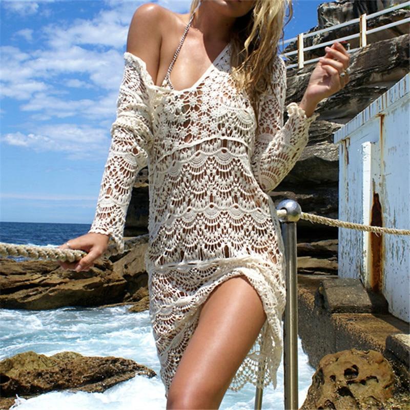 c2dc3237cf199 New Arrivals Sexy Beach Cover up Crochet White Swimwear Dress Ladies Bathing  Suit Cover ups Beach