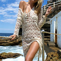 Nuevas Adquisiciones Sexy Beach Cover up Vestido de Crochet Blanco del traje de Baño señoras Traje de Baño Cubre sube Beach Túnica Saida de Praia # Q148