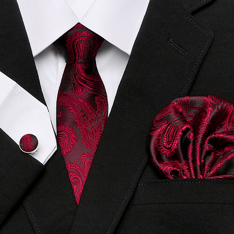 Men`s Tie 100% Silk Red Plaid Print Jacquard Woven Tie + Hanky + Cufflinks Sets For Formal Wedding Business Party Free Postage(China)