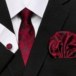 Для мужчин галстук 100% шелк красный плед печати жаккардовые тканевый галстук + платок + запонки устанавливает для официального Свадебная