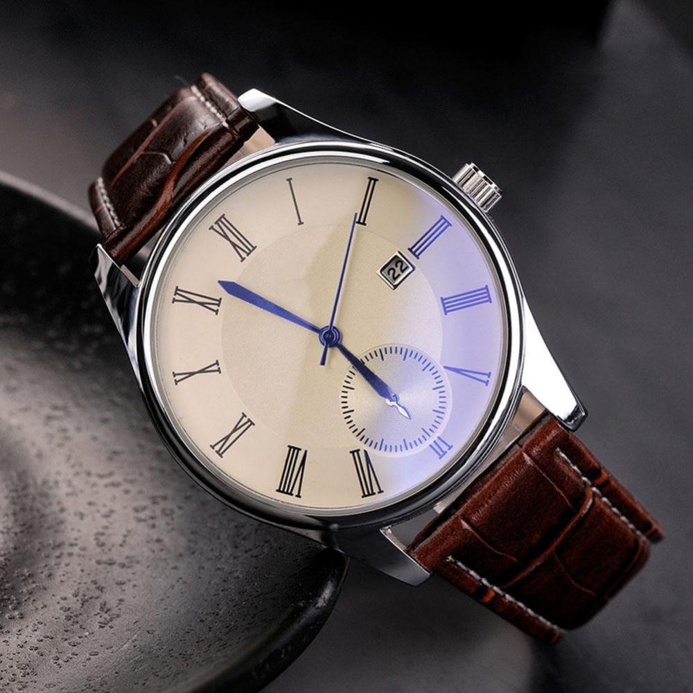 Classic Watch Fashion Hodinky Men's Luxury Quartz Watches Faux Leather Blue Ray Glass Analog Brand Relogio Feminino High Quality