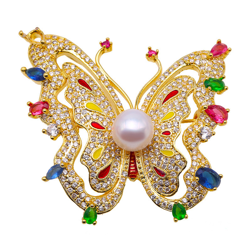 JYX Butterfly Pearl Brooch for Women Brooches 9mm White Flat Round Freshwater Pearl, vintage pearl brooches pins цена 2017