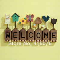Free Shipping! Vintage Style Creative Welcome Board Butterfly Bee and The Flowers Wood Craft Home Decoration Gift W1007