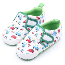 Cute Cartoon Car Print Newborn Kids Baby Boy Girl Cotton Blend Soft Sole Casual Crib Shoes Sneakers