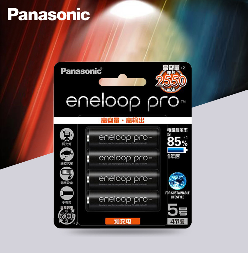 Panasonic Original Battery Pro AA 2550mAh 1.2V NI-MH Camera Flashlight Toy Pre-Charged Rechargeable Batteries