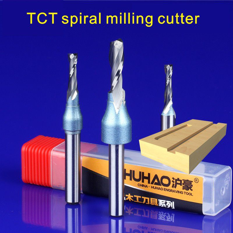 1/4(6.35) HQ Woodworking Cutter TCT Double Edge Straight Cutter Spiral Milling Cutter Slotting tool Engraving machine gong knife 1pc 1 4shk 1 4 5 16 cnc woodworking cutter engraving tool gong cutter dovetail milling cutter