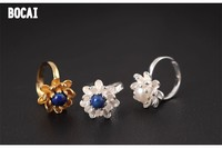 925 Sterling Silver Jewelry Three Dimensional Lotus Lapis Lazuli Ring