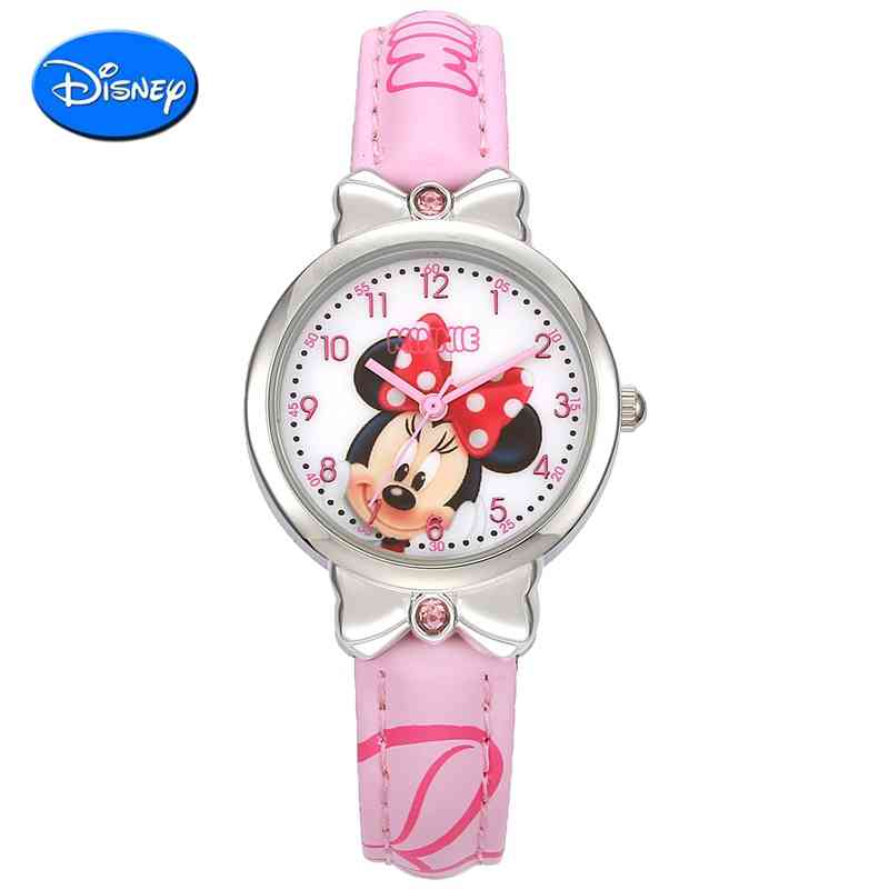 children Mickey Minnie watches with diamond cartoon Casual watch kids Leather Wristwatches relogio 100 Genuine Disney