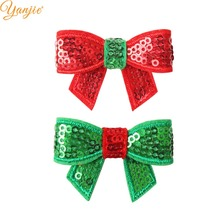 100pcs/lot 1.8 Mini Sequin Bow Christmas Hairgrips Girls 2019 Christmas DIY Hair Accessories For Headband Kids Hair Bows Clips