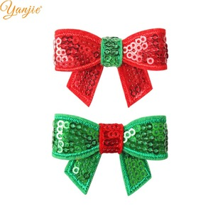 Image 1 - 100pcs/lot 1.8 Mini Sequin Bow Christmas Hairgrips Girls 2019 Christmas DIY Hair Accessories For Headband Kids Hair Bows Clips