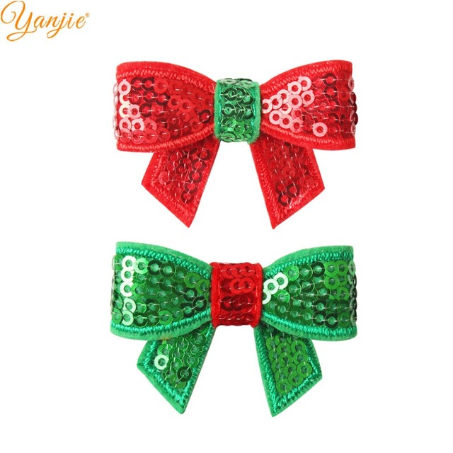 100pcs/lot 1.8 Mini Sequin Bow Christmas Hairgrips Girls 2019 Christmas DIY Hair Accessories For Headband Kids Hair Bows Clips