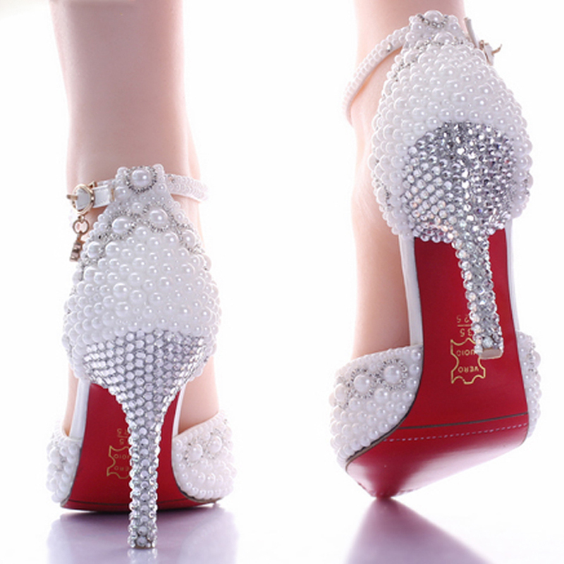 Hot Luxury Shiny White Pearl 9cm High heel Bridesmaid Bridal Shoes  Rhinestone Lady Shoe Wedding Party Pointed Toe Pageant Event-in Women s  Pumps from Shoes ... 6825d0e94b8a