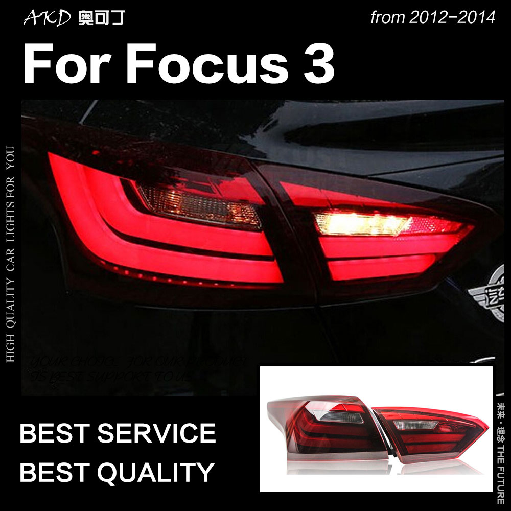 AKD Car Styling for <font><b>Ford</b></font> <font><b>Focus</b></font> Tail <font><b>Lights</b></font> <font><b>2012</b></font>-2014 <font><b>Focus</b></font> 3 Sedan LED Tail Lamp LED DRL Signal Brake Reverse auto Accessories image