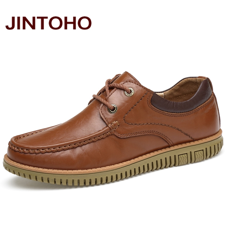 JINTOHO Big Size Men Casual Leather Shoes High Quality Genuine Leather Shoes Designer Men Loafers Brand