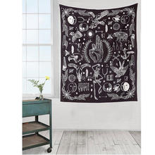 Loartee Ouija House Magic Astrology Tapestry Psychedelic Animal Illustration Witchcraft Wall Decor Bedspread Home Living Rug