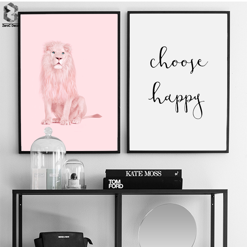 Pink Lion Scandinavian Poster Wall Art Canvas Painting Modern Motivational Quotes Choose Happy Print Living Room Home Decoration