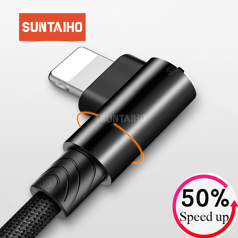 Suntaiho for iphone XS MAX USB Cable Charger for Lighting cable 90 degree Elbow USB Charger Cable Sync for iphone 6s X 7 8plus-in Mobile Phone Cables from Cellphones & Telecommunications on AliExpress