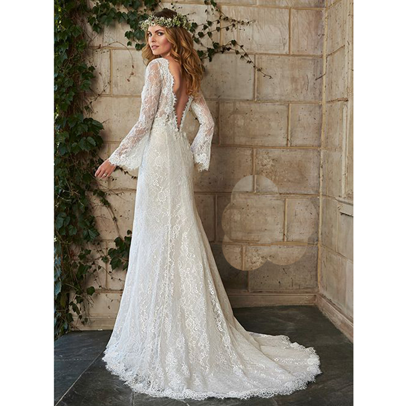 Buy hot bohemian wedding dress illusion for Long sleeve dresses to wear to a wedding