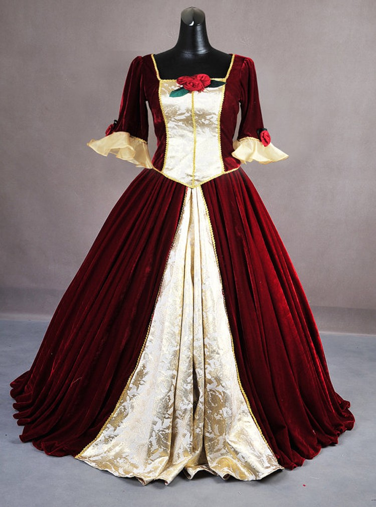 Custom-Made Dark Red Belle Princess Costume From Beauty And The Beast Belle Cosplay Costume For Women Free Shipping