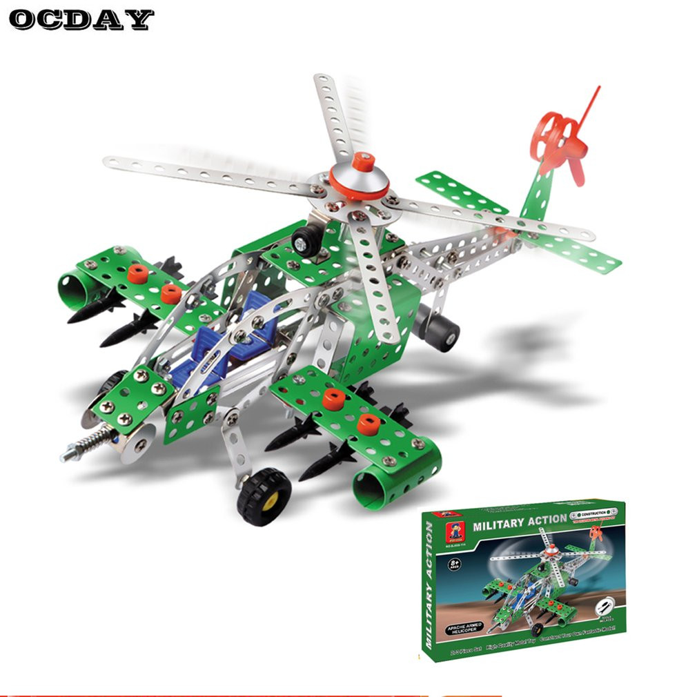 Boys 270pcs/Set Metal Constructor Blocks Toy Innovative Military Action Building Model Kits Apache Armed Helicopter with Tools