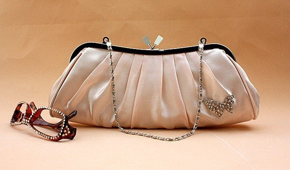 New! pink satin Bowknot  bridal wedding bag Ruched crystals evening bag with chain casual clutch