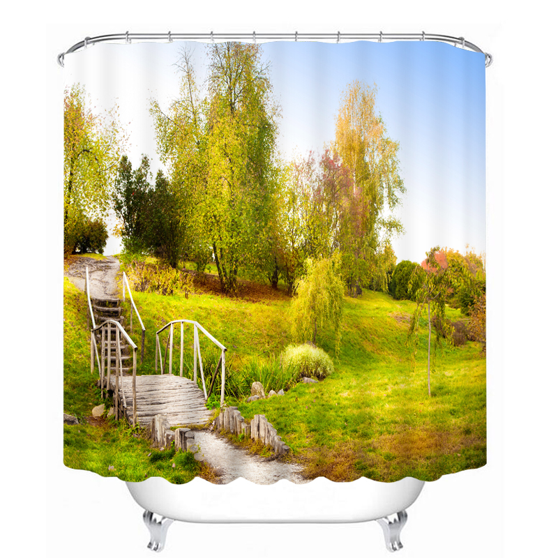 Bathroom Products 3D Shower Curtains Nature Pastoral Scenery Pattern Bath Curtain Waterproof Washable Fabrics Bathroom Curtains  zwbra shower curtain