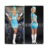 Deguisement Adultes Sexy Erotic Temptation Blue Stewardess Costume With Gorro Fantasias Femininas Cosplay Uniform Lingerie CE509