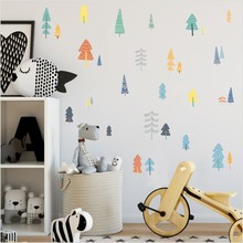 Nordic Style Forest Tree Color Wall Decals Woodland Vinyl Art Stickers For Kids Room Decoration Modern Decorative