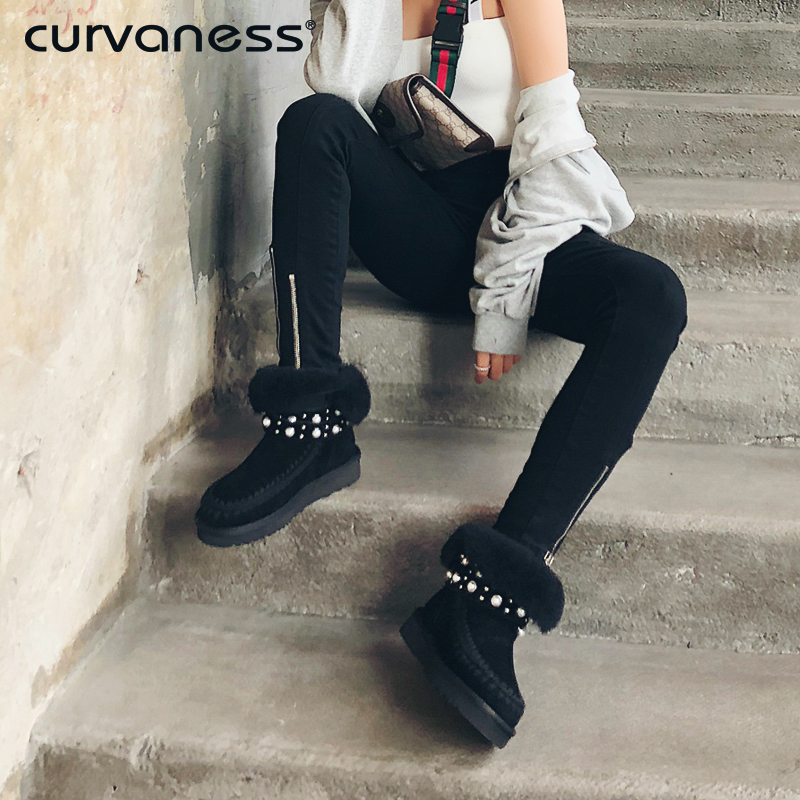 Curvaness Womens Shoes Winter Ankle Boots Pearl Decoration Buckle Flat Round Head Short Boots Fur Snow Boots Leather WinterCurvaness Womens Shoes Winter Ankle Boots Pearl Decoration Buckle Flat Round Head Short Boots Fur Snow Boots Leather Winter