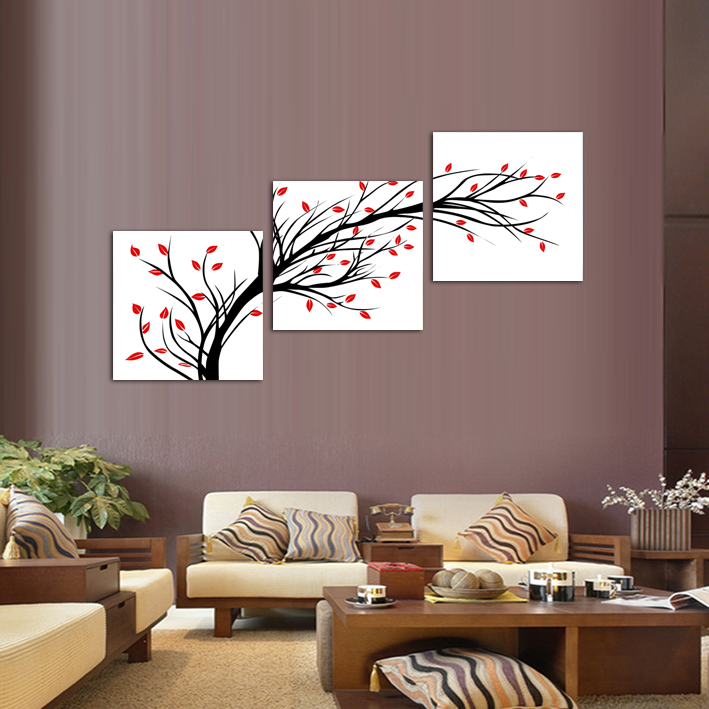 3 Panels Canvas Little Simple Flower Tree Painting On Canvas Wall