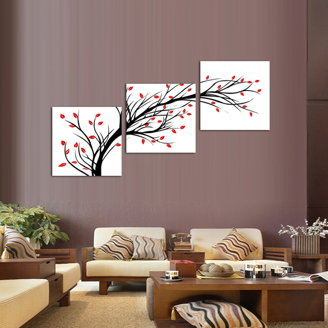 3 Panels Canvas Little Simple Flower Tree Painting On Wall Art Picture Home Decor THR110
