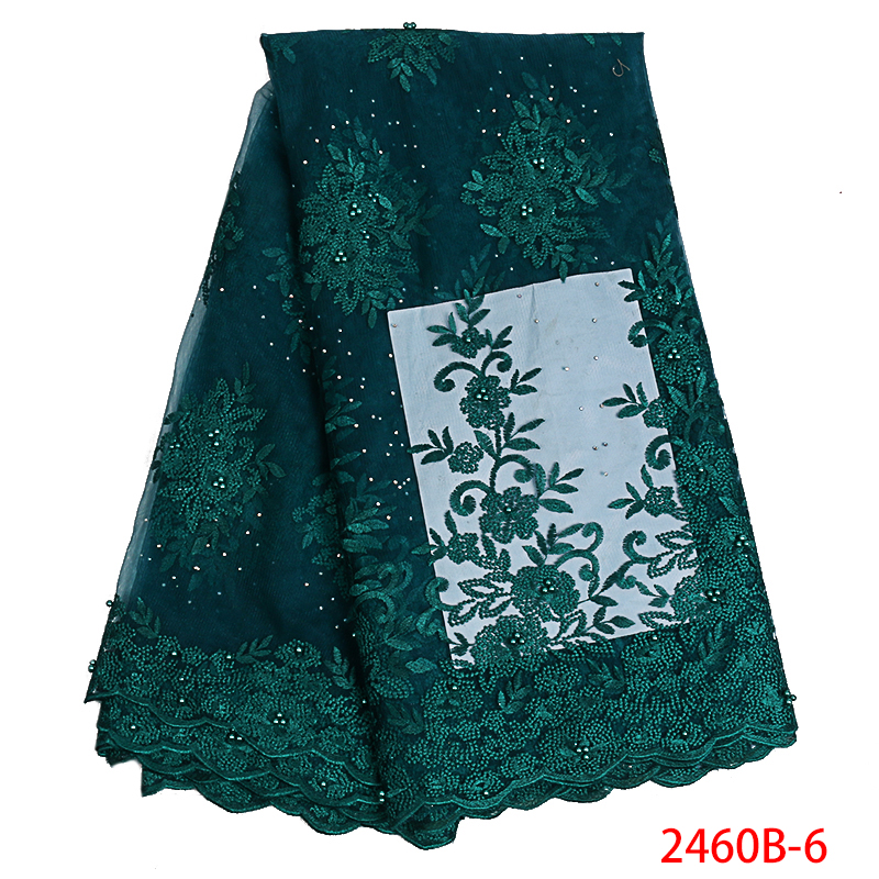 Hot Sale Design Popular Woman Green Lace Fabric With Beads African Wedding Dress Nice Nigerian Lace