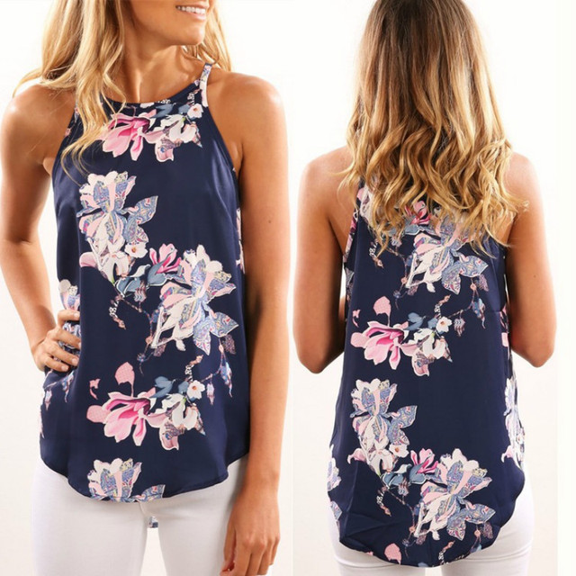 Casual Elegant Floral Blouse Slim Sleeveless Work Wear Blusas Feminina Tops Shirts Plus Size 2