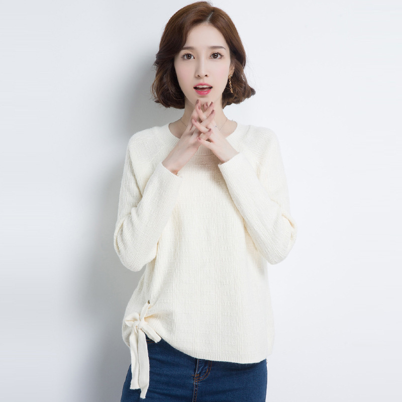 2017 New Autumn Fashion Pullover Women Sweater O-neck Long-sleeved Casual Knitted Bow Tie Hot Feminino M L XL 177-63E