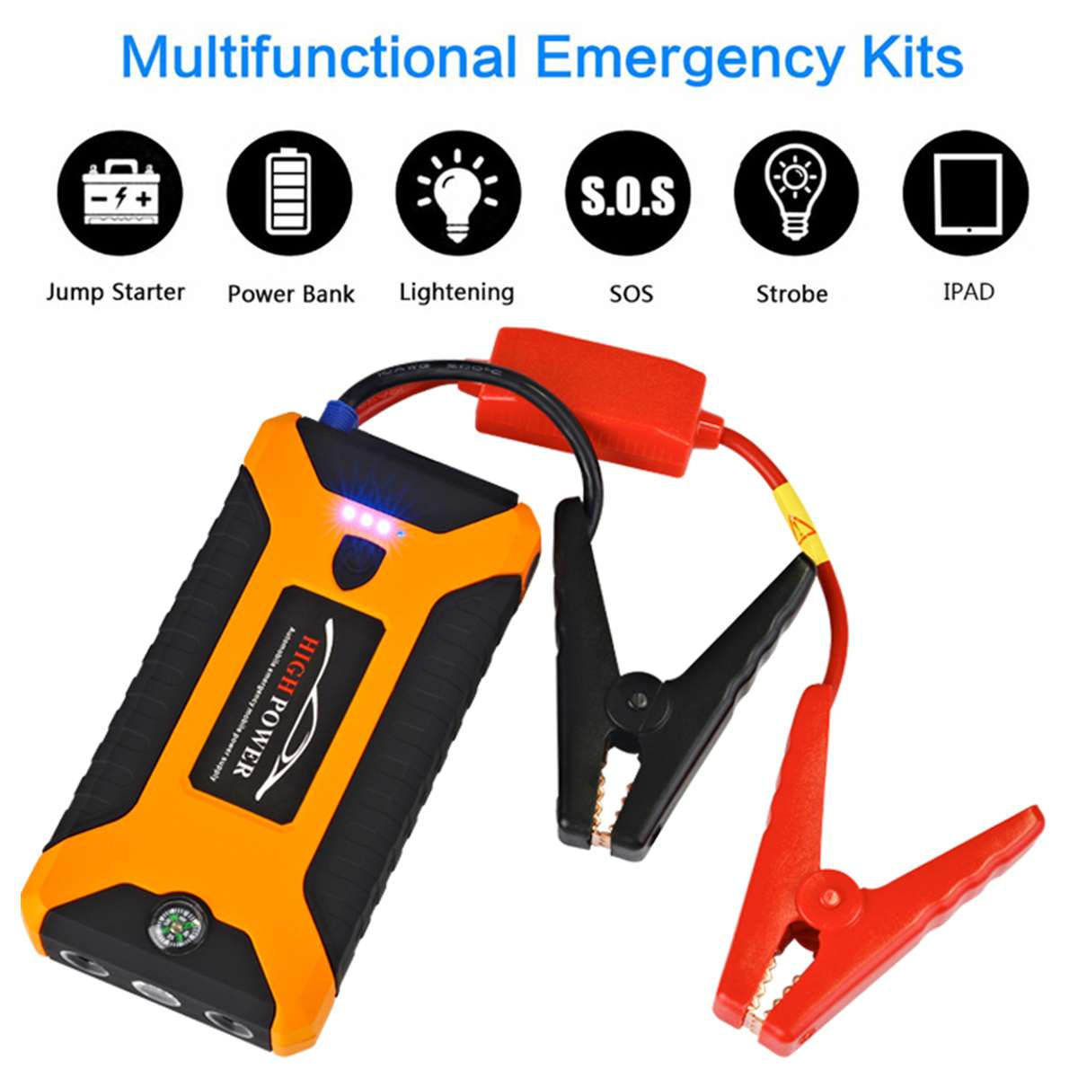12V 600A 4 USB High Capacity Car Jump Starter LED Light Mutifuction Portable Car Battery Booster Charger Power Bank