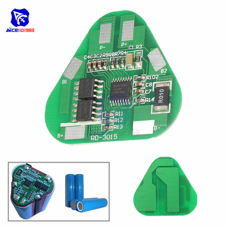 3S 4A Li-ion Li-Po Cylindrical Prismatic Lithium Polymer Battery Board 3 Cell PCB Module Short Circuit Overcharge Protection