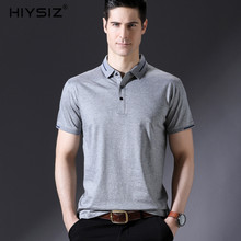 HIYSIZ New t shirt men brand clothing 100% cotton Turn-down Collar solid t-shirt men casual male short sleeve slim T-shirtsST140 недорого