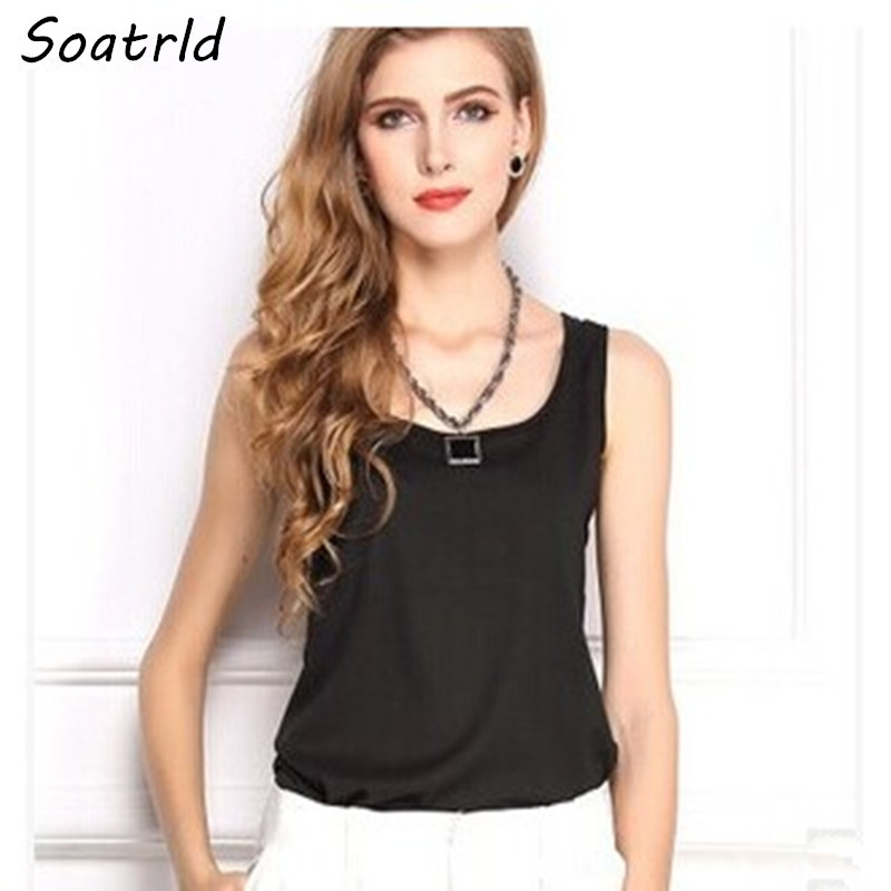 2014 Summer New S-XXXL Size Women Fashion Chiffon Tank Tops Vest Shirts 15 Candy Color Loose Top Shirt blusas - Soatrld1 Store store
