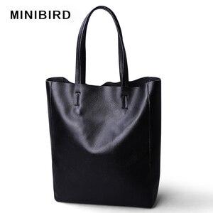 Image 2 - Genuine Leather Bag Women Shoulder Bag Shopping Bag Lady High Capacity Waterproof Parent subsidiary Casual Totes Zipper Handbag