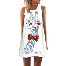 (Ship from US) Dress Women Dress Girl Loose Summer Sleeveless Giraffe Print  Tank Short Mini Dress Girl b1d78d2ea