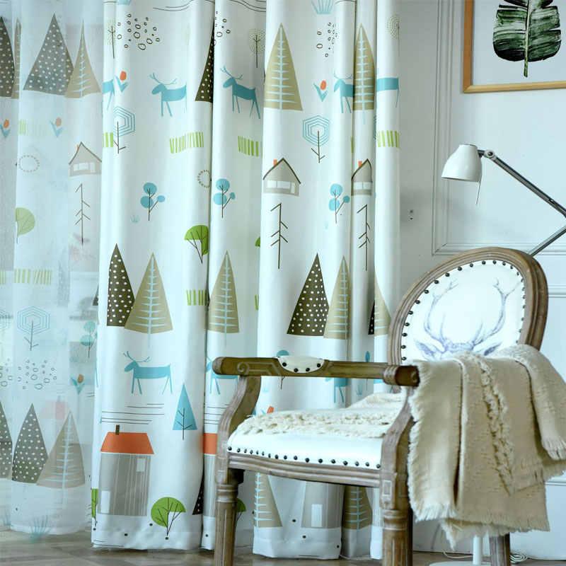 Cartoon Trees Curtains For Kids Boys Bedroom Blinds Linen