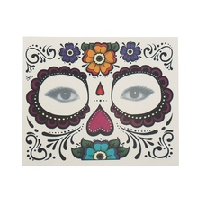 Waterproof Facial Makeup Sticker Special Face Tattoo Day of The Dead Skull Face Dress Up Halloween Temporary Tattoo Stickers